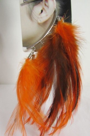 Other Women Metal Cuff One Earring Pink Orange Blue White Feathers Image 8