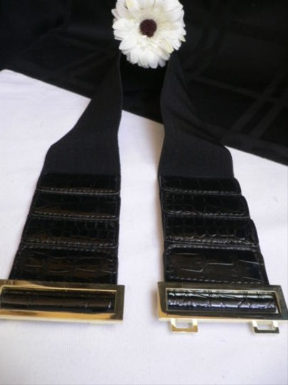 Other Women Hip Waist Elastic Black Fashion Belt Gold Metal Buckle 27-38 S-l