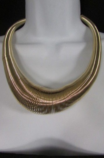 Other A Women Trendy Fashion Necklace Gold Metal Elastic Spring Chains Classic Style
