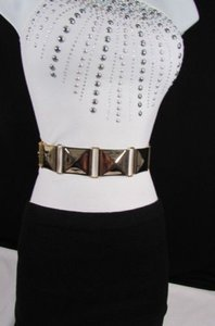 Other Women Gold Squares Metal Plate Fashion Belt Low Hip High Waist Elastic