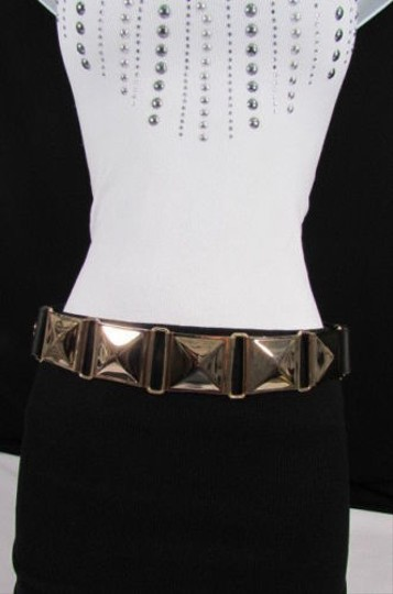 Other Women Gold Squares Metal Plate Fashion Belt