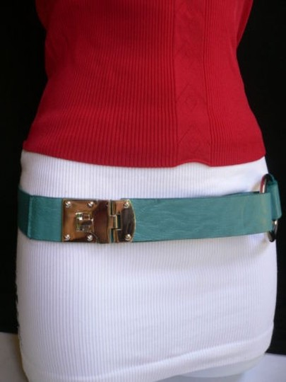 Other Women Hip Elastic Blue Fashion Belt Silver Metal Round Buckles 29-34 Sm Image 2