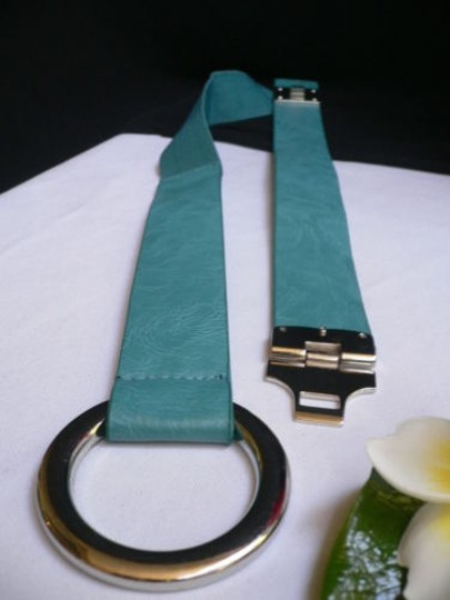 Other Women Hip Elastic Blue Fashion Belt Silver Metal Round Buckles 29-34 Sm