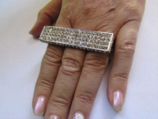 Other Women Silver Metal Fingers Big Fashion Wide Trendy Ring Silver Rhinestones