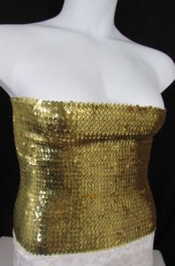 Other Women Las Vegas Party Strapless Sequins Stretch Skirt Top Gold