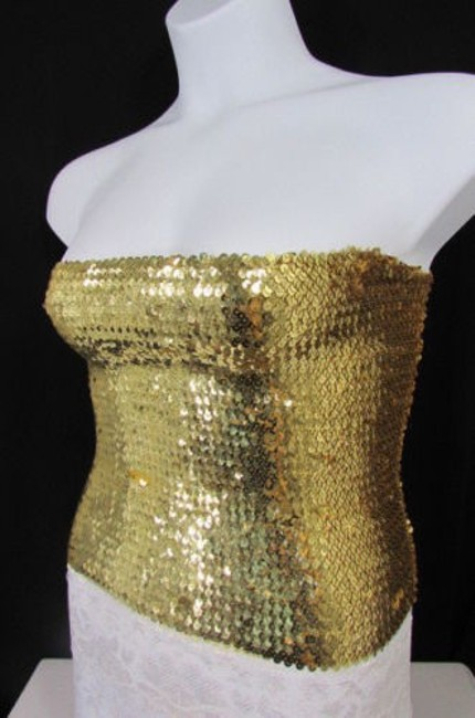 Other Las Vegas Party Strapless Sequins Top Gold