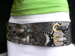 Other Women Elastic Black Snake Print Fashion Belt Double Buckles 27-35