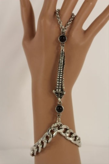 Other Women Black Silver Metal Back Spine Fashion Bracelet Hand Chain Link Slave Ring
