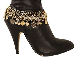 Women Fashion Jewelry Boot Bracelet Gold Metal Chain Mini Coins Anklet Charm