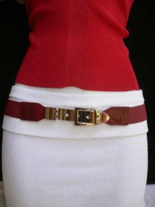 Other Women Elastic Hip High Waist Red Thin Belt Long Silver Buckle 26-37