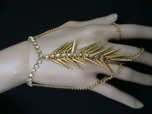 Other Women Bracelet Gold Spikes Hand Chain Wrist Silver Rhinestone