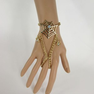 N Women Gold Hand Chain Slave Ring Fashion Wrist Bracelet Spider Net Rhinestones