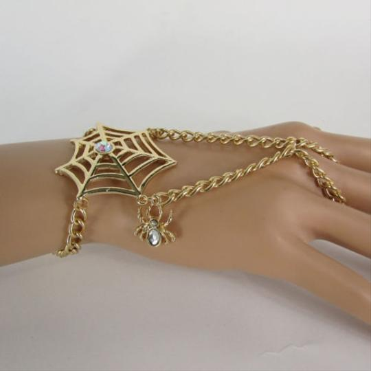 Other N Women Gold Hand Chain Slave Ring Fashion Wrist Bracelet Spider Net Rhinestones