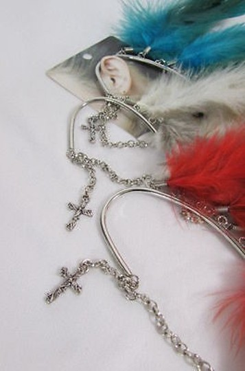 Other Women Big Silver Metal Cross Cuff 1 Earring Red Blue Brown Feathers