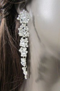 Other Women Flowers Drop Long Earrings Set Rhinestones Silver Gold