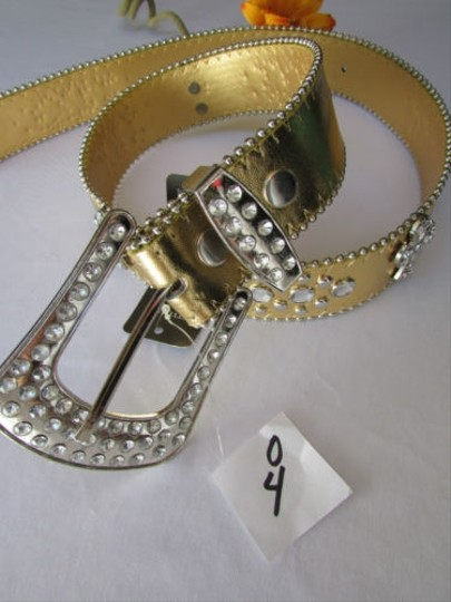 Other Women Faux Leather Western Gold Fashion Belt Cross Silver Beads Buckle 30-35