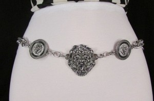Women Hip Waist Silver Metal Chains Lion Head Fashion Belts 26-40