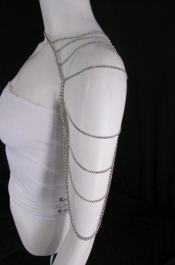 Other Women Silver Metal Shoulder Body Chains Necklace Fashion Jewelry Image 2