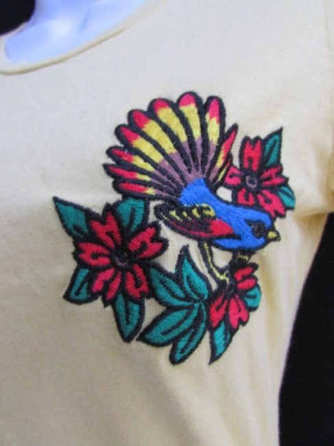 Ed Hardy Women Mustard Little Bird Sleeves Crew Neck T Shirt Yellow
