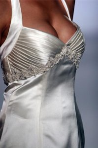Anne Barge Sexy Beaded Halter #lf144 Satin Sheath Wedding Dress