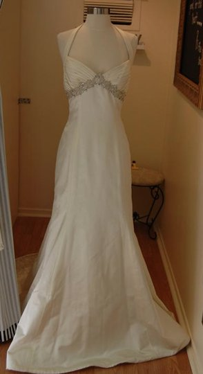 Anne Barge Pearl White Beaded Satin Halter Sweetheart Empire Lf144 Sheath Slim Sexy Wedding Dress Size 8 (M)