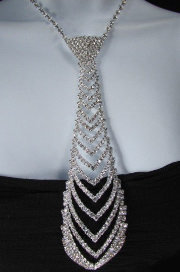 Other Women Fashion Necklace Long Neck Tie Multi Silver Rhinestones Earring Set