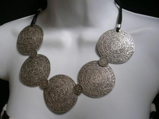 Other A Women Metal Moroccan Discs Silver Chains Statement Fashion Necklace Handmade