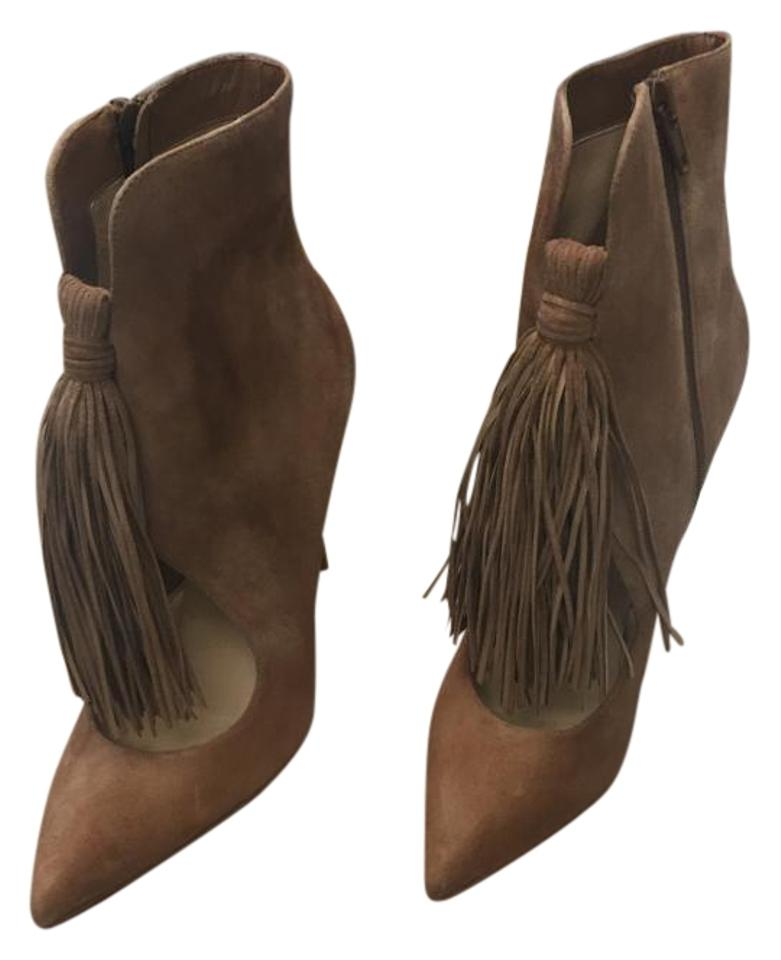 Christian Louboutin Brown/Tan Ottocarl 100mm Noisette Suede Fringe Euro Ankle Heel Sz. 38 Euro Fringe Boots/Booties f989e3