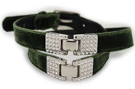 Other Women Silver Rhinestones Faux Suede Green Moroccan Fashion Belt 32-36