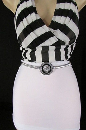 Other Women Hip Waisted Silver Elastic Metal Lion Narrow Fashion Belt 2540 Image 5