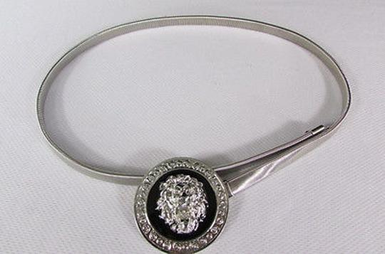 Other Women Hip Waisted Silver Elastic Metal Lion Narrow Fashion Belt 2540 Image 8