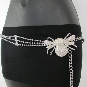 Women Belt Hip Waist Silver Metal Chains Fly Bee Buckle Fashion Insect