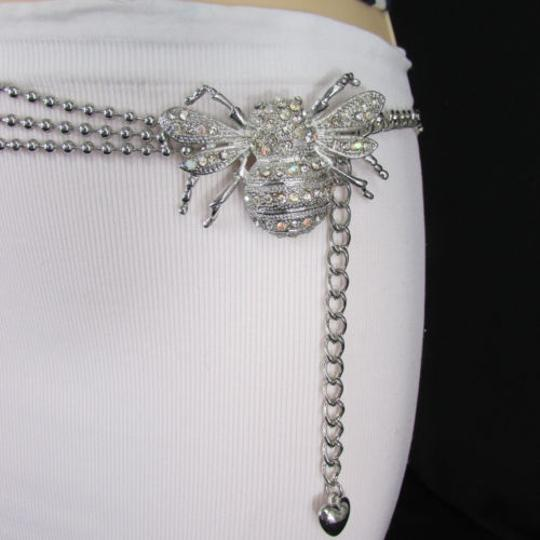Other Women Belt Hip Waist Silver Metal Chains Fly Bee Buckle Fashion Insect Image 11