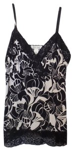 White House | Black Market Camisole Art Deco Crepe Medium Lace Top Black and white