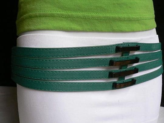 Other Women Belt Fashion Summer Teal Blue Faux Leather Thin Strips 30-36 L