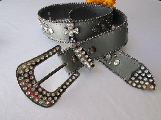 Other A Women Gray Faux Leather Western Cross Belt Silver Beads Buckle 30-35