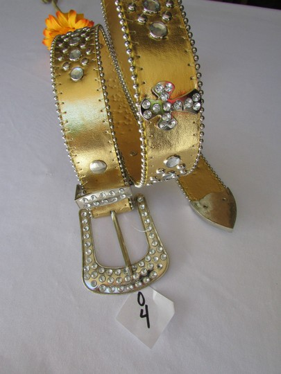 Other Women Faux Leather Western Gold Fashion Belt Cross Silver Bead Buckle 34-39 Image 1
