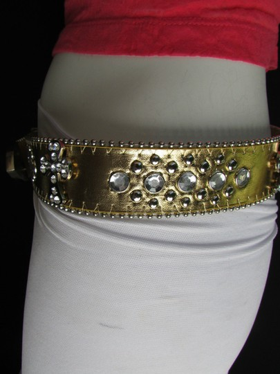 Other Women Faux Leather Western Gold Fashion Belt Cross Silver Bead Buckle 34-39