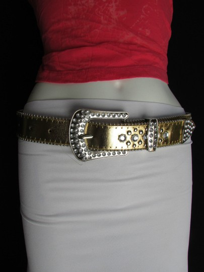 Other Women Faux Leather Western Gold Fashion Belt Cross Silver Bead Buckle 34-39 Image 2