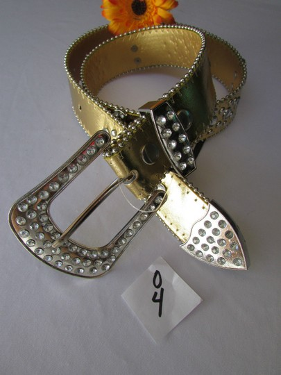 Other Women Faux Leather Western Gold Fashion Belt Cross Silver Bead Buckle 34-39 Image 3