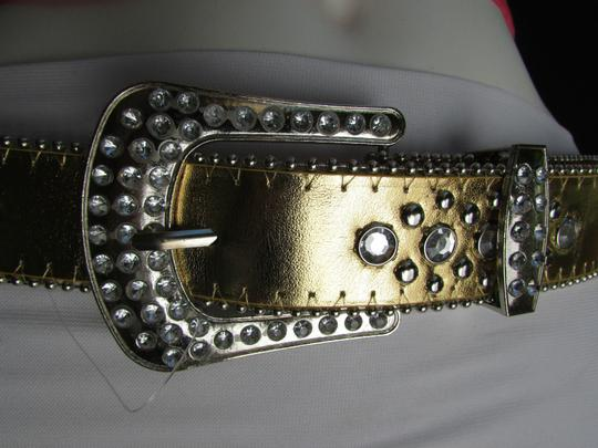 Other Women Faux Leather Western Gold Fashion Belt Cross Silver Bead Buckle 34-39 Image 6