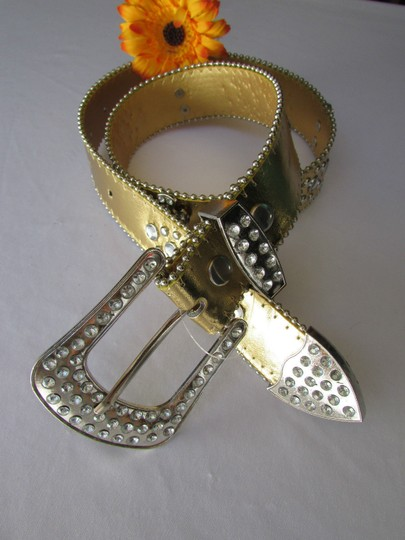 Other Women Faux Leather Western Gold Fashion Belt Cross Silver Bead Buckle 34-39 Image 7
