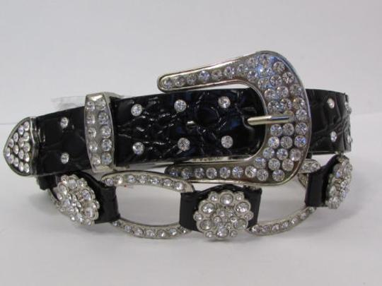 Other A Women Black Faux Leather Western Fashion Belt Silver Metal Flowers Image 10