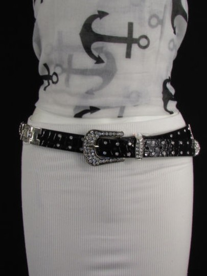 Other A Women Black Faux Leather Western Fashion Belt Silver Metal Flowers Image 3