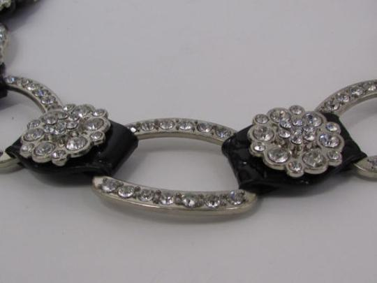 Other A Women Black Faux Leather Western Fashion Belt Silver Metal Flowers Image 4