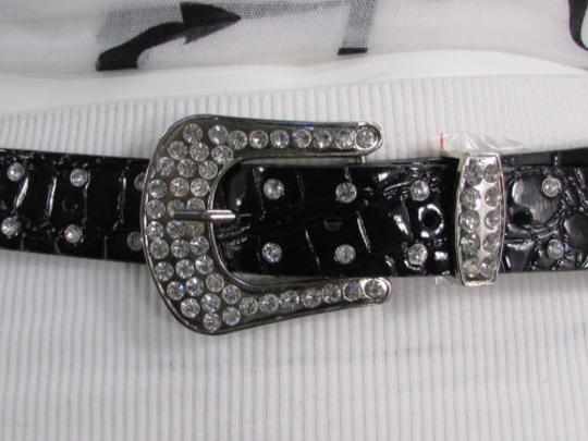 Other A Women Black Faux Leather Western Fashion Belt Silver Metal Flowers Image 5