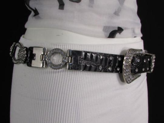 Other A Women Black Faux Leather Western Fashion Belt Silver Metal Flowers Image 7