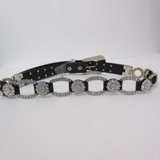Other A Women Black Faux Leather Western Fashion Belt Silver Metal Flowers Image 8