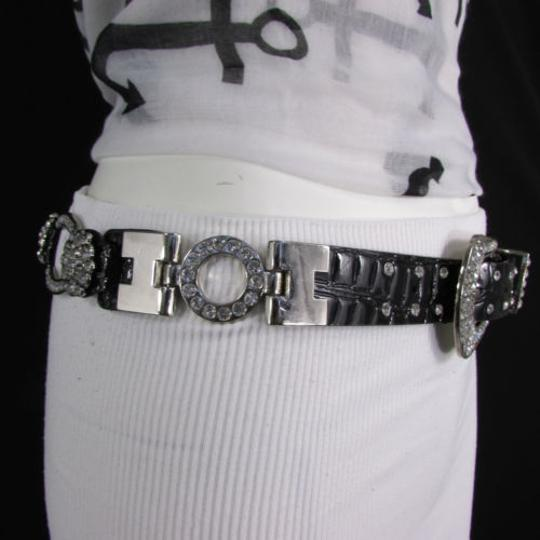 Other A Women Black Faux Leather Western Fashion Belt Silver Metal Flowers Image 9
