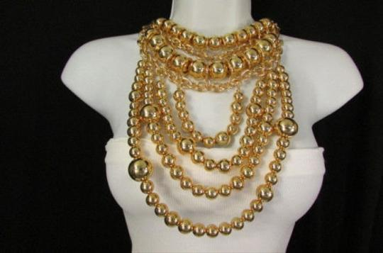 Other A Fashion Women Bib Necklace Earrings Gold Metal Multi Strand Bead Chunky Chains